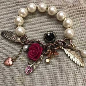 Betsey Johnson feather & rose